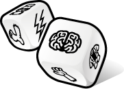 The dice from the party game: FrankenDie.