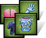 Sample tokens from the party game: FrankenDie.